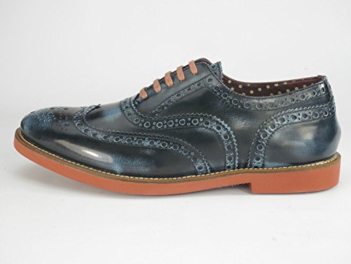 Homme richelieus Cuir Navy Brogue Red London Farnham Mocassin Leather Sole wqHtxxa1