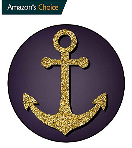 Tranquility Pattern - Anchor Modern Machine Washable Round Bath Mat,Anchor Pattern With Tranquility Peacefulness Artistic Display Nautical Marine Print Non-Slip Living Room Soft Floor Mat Round-51 Inch,Plum Yellow