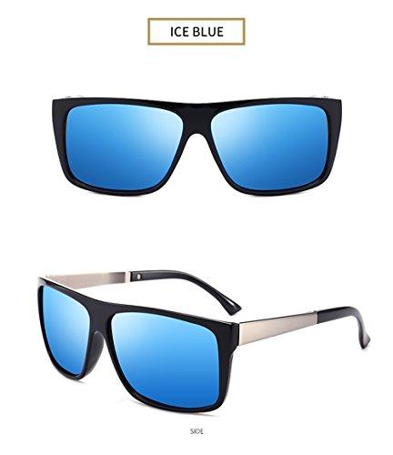 Polarizado Polarizadas Memoryee UV400 de Hombre Super Marco Gafas 100 sol Azul Metal Wayfarer Ligero aww5qBA