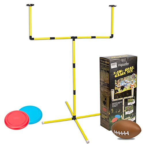 2-IN-1 Outdoor Toss Game Set - Beer Frisbee Game, Football Goal Game Perfect For Kids and Adults,Beach, Lawn, Backyard, Camping, Tailgating and Outdoor Play -