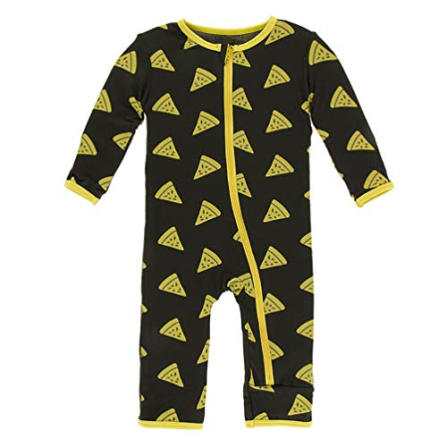 (Kickee Pants Little Boys Print Coverall with Zipper - Zebra Pizza, 3-6 Months)