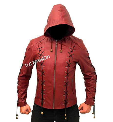 Red Arrow Jacket-Arrow Hood Costume Leather -
