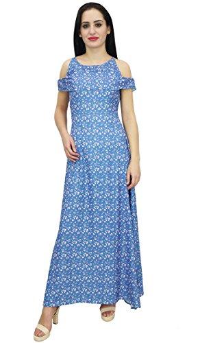 Bimba Dresses Women's Blue Sky Dress Sleeveless Party Floral Split Wear Beach Maxi Side q4wSxwX