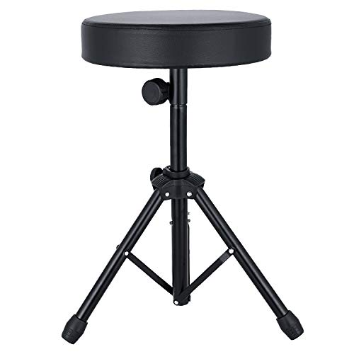 Noeler Universal Drum Throne Stool adjustable Metal Professional Drum Seat Sponge Padded for Kids&Adult with anti-slip feet