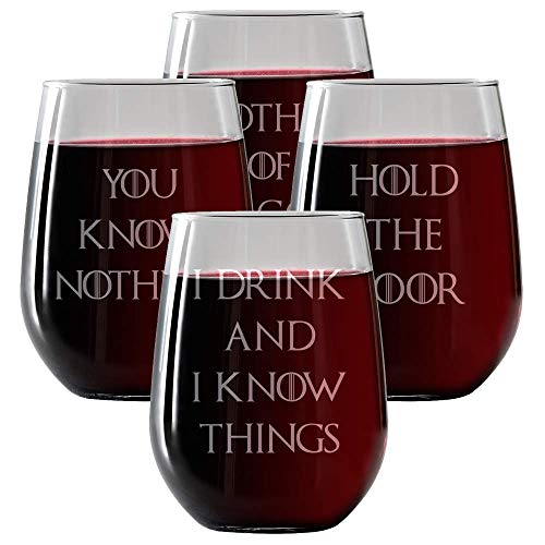 Game of Thrones Inspired Wine Glasses Set of 4, Stemless Wine Glasses 17oz | | Engraved- Drinkware | for Men and Women - Made in USA. Red Wedding, Mother of Dragons. Includes free Wine Food Pairing C