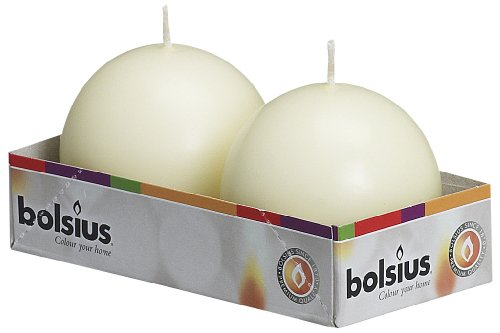 Round Ball Candles - BOLSIUS Pack of 2 Ivory Ball Candles 2.75 Inch (70 mm.)