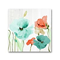 Genius Decor - Watercolor Poppies Flowers in Teal and Coral Wall Art Canvas Print for Home Decor, Ready to Hang (Teal Coral, 20x20inch)