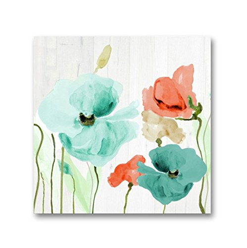 Genius Decor - Watercolor Poppies Flowers in Teal and Coral Wall Art Canvas Print for Home Decor, Ready to Hang (Teal Coral, 20x20inch) ()