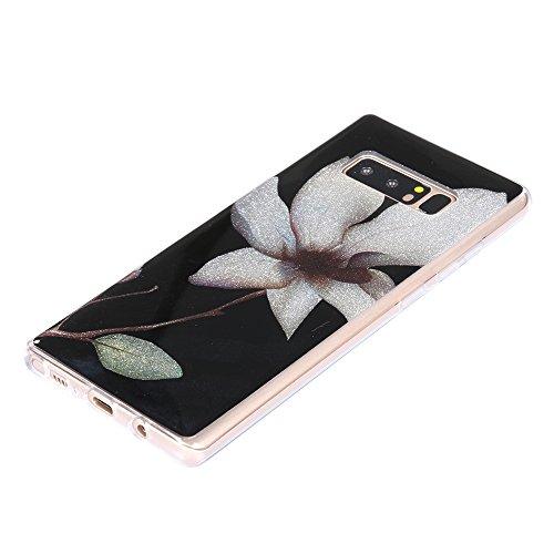 Funda Galaxy Note 8,EUDTH Suave TPU Gel Funda Case Delgado Bling Resplandecer Silicona Fundas Carcasa Espalda para Samsung Galaxy Note 8/SM-950F (6.3 Pulgadas) Diamante Magnolia flower