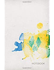 """Notebook: Lined Journal Notebook   Stylized """"Paint Splatter"""" National Flag of Saint Vincent and the Grenadines   6"""" x 9"""" (15.24 x 22.86 cm)"""