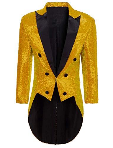 Men Sequins Costume for Theatre Gold Tuxedo Tails Costume Joker Jacket for Men -