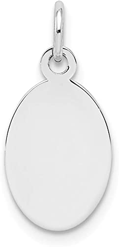 Sterling Silver Engravable Oval Polished Front and Satin Back Disc Charm Pendant