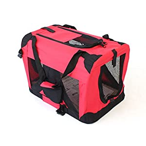 Pet Travel Carrier Soft Crate Portable Puppy Dog Cat Kitten Cage Kennel Home House Red (Small 50x33cm) Click on image for further info.