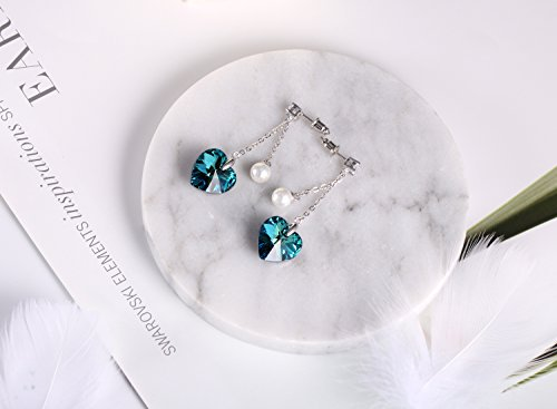 ❤Gift Packing❤ Crystal from Swarovski, Heart Earrings Tassels Pearls Eardrop Dangle Style Earrings, Birthday Birthstone Gifts for Women, Graduation Gifts by PLATO H (Image #2)