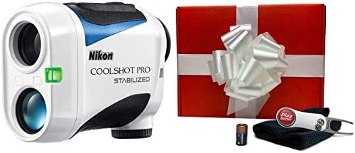 Nikon Coolshot Pro Stabilized Golf Laser Rangefinder Gift Box Bundle PlayBetter Microfiber Towel, Extra CR2 Battery PlayBetter Pitchfix Divot Tool Slope, Tournament Legal