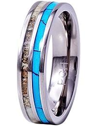 deer antler ring titanium for women and men turquoise 6mm wedding band comfort fit - Titanium Wedding Rings For Men