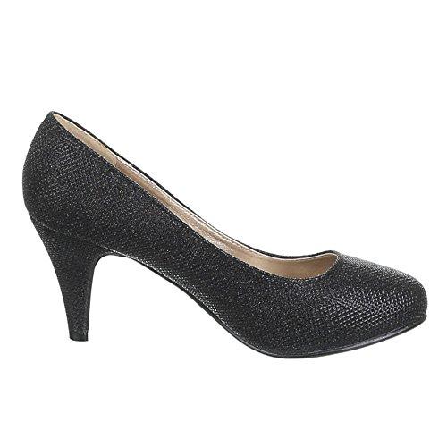 vestir de Design Sintético negro Material de Zapatos Negro mujer para Ital wxPqHnSw