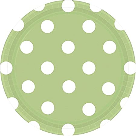 Leaf Green Dots Round Plates 7 Amscan 541537.115 8 Ct