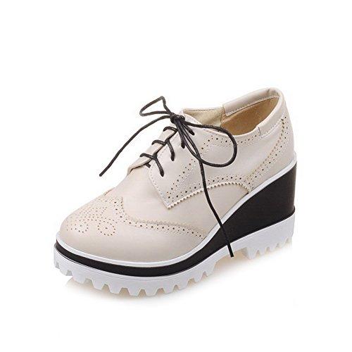 AllhqFashion Damen Blend-Materialien Rund Zehe Hoher Absatz Schnüren Rein Pumps Schuhe Cremefarben