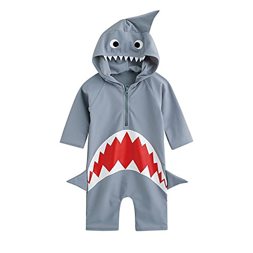Mulfei Baby Boys Girls Shark Swim Jumpsuit Rash Guard Swimsuit Costume Sun Protection Swimwear (XS(1-2Years)) Grey -