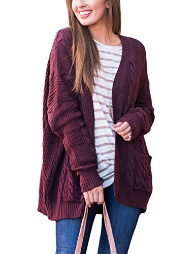 S-5XL Women Cable Knit Open Front Loose Sweater Cardigan Casual Coat Outerwear