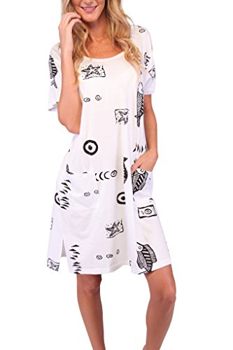 Ingear Beach Summer Shift Dress Short Cotton Tee Dress Cover Up