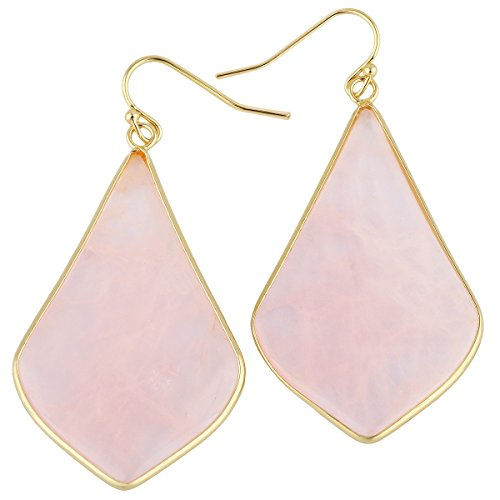 rockcloud Crystal Stone Dangle Earrings Gold Plated, Rhombus Shape, Rose Quartz