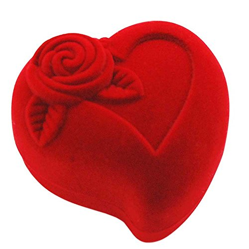 Osye Flocking Heart Gift Box for Rings, Earrings Making a Proposal Jewelry Case (Case only) (Red)
