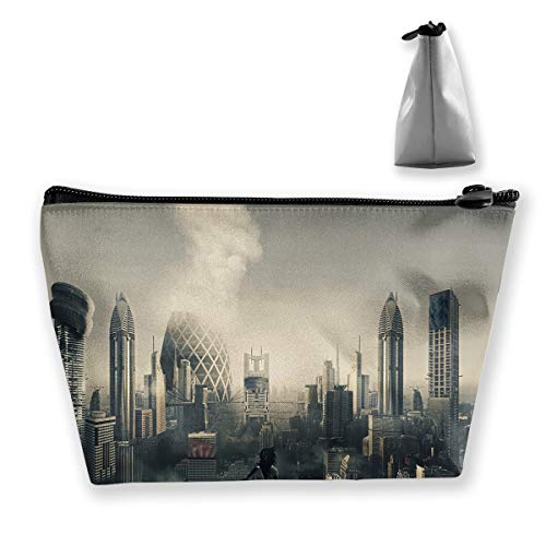 Makeup Bag Trapezoidal Storage Bag Futuristic City Artwork Portable Cosmetic Bag Ladies Mobile Travel Bag ()