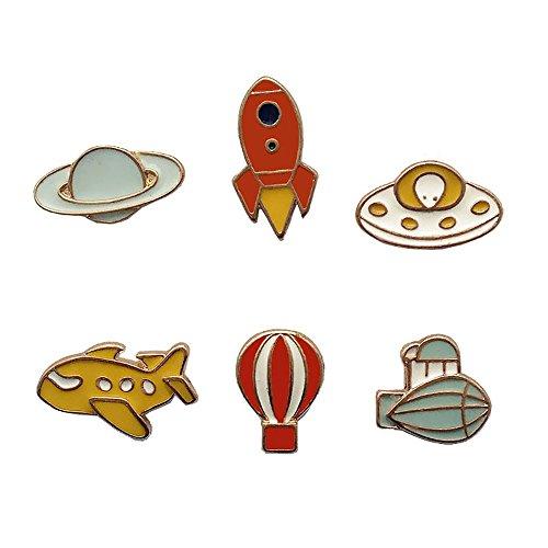 - Fashion Cartoon Enamel Brooch Pins Set for Unisex Child Women's Clothing Decorate (Star Rocket Aircraft Set)