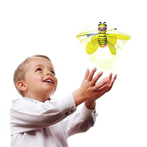 Unionm Bumble Bee Mini Flying Toy Hand Operated RC Stunt Toy Hands Free Motion Sensor Rechargeable Floating Toy, Wings Can be Flexibly Removed, Gift for Boys Girls (Yellow)