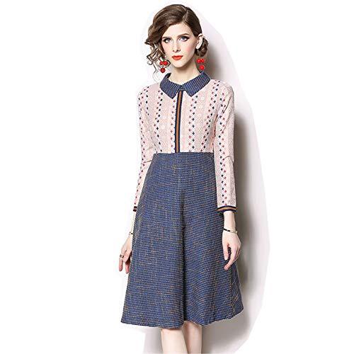 Setwell Elegant Peter Pan Collar Three-Quarter Woman Long Chiffon Dress Pink
