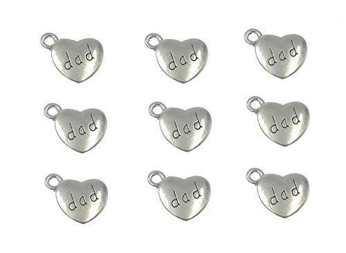 30pcs Dad Charm,Heart Shape Double-Faced Pendant for Father's Day as DIY Bracelet Necklace Jewelry Making Findings(Antique Silver) -