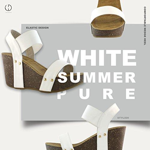Dailyshoes Wedge Plate-forme Diapositive Sur Le Confort Cheville Élastique Sangle Sandale Chaussures Blanc Pu