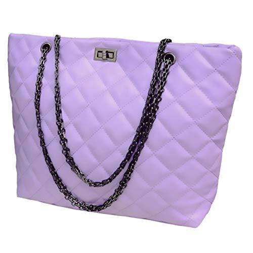 - Chains Tote Bags for Women,Top Handle Weekender Shoulder Handbag,Hobo Purses (MIDDLE, Violet Purple)