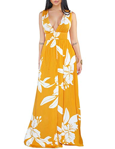 YouSexy Women's Deep V-Neck Sleeveless Flower Maxi Dresses Casual Long Party Dresses