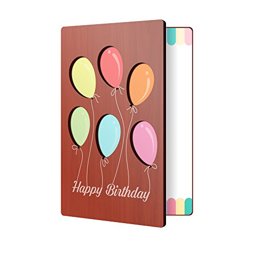 Wooden Birthday Card With Balloon Design: Premium Handmade Wood Card Perfect Way To Say Happy Birthday; Wood Happy Birthday Cards For Men & Women