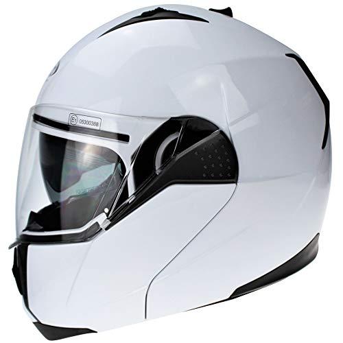 3GO E335 Motorradhelm Weiß Öffnbar und modular ECE Homologated Integral Integrierte Herren- und Damen-Doppelvisier…