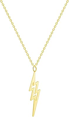 """CUTE LIGHTNING BOLT NECKLACE Small 1/"""" Pendant Gold Silver Tone Chain Jewelry"""