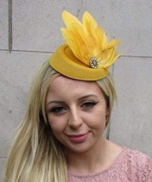 05ce3ee9f98 Mustard Gold Yellow Feather Pillbox Hat Hair Clip Fascinator Races Wedding  6287  Amazon.co.uk  Beauty
