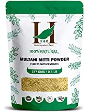 H&C 100% Pure Organically Processed Fuller's Earth Clay (Multani Mitti) Bentonite Clay- 1/2 Lb - 227 Gms - 8 Oz