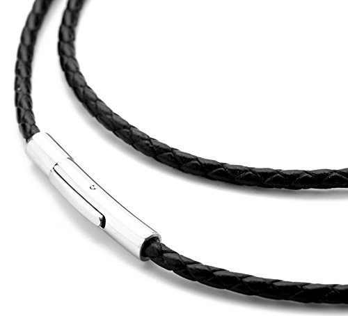 Hamoery Women Men 3mm Leather Cord Chain Necklace Black Braided Rope Stainless Steel Clasp Chain Necklace 14-30 Inch(Black,28.0 inches) by Hamoery (Image #3)