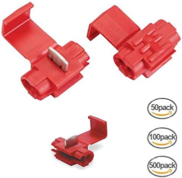 50 Pack Red Quick Splice Wire Tap Connector Adapter 22-18 Gauge AWG SHIPS FREE!