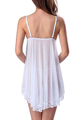 3 Babydoll Pilgrim Night pezzi Adorneve Dress White Babydoll Thong 64wZq4af