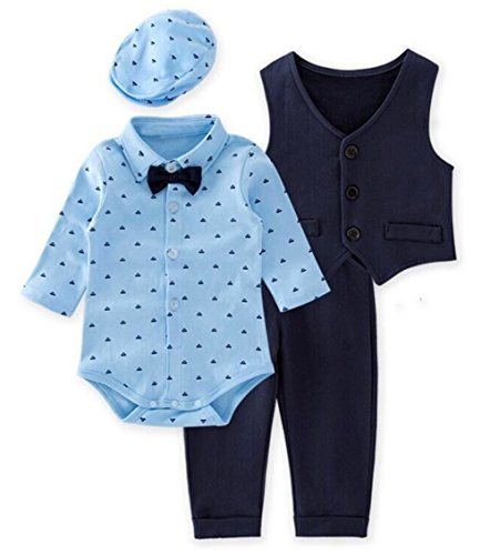Baby Boy Dressy Clothes - stylesilove Baby Boys Gentlemen 4-Piece Tuxedo Suit Formal Wear Outfit (80/6-12 Months) Blue