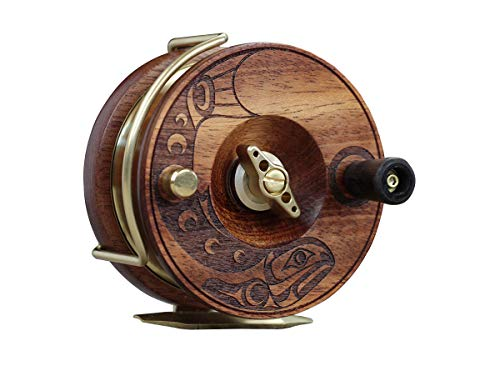 PEETZ Fly Reel, 3.5-Inch 'Classic' Action | Handcrafted | Mahogany Wood & Brass | Right Retrieve | Nottingham Style ()