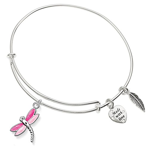 (Enni of York Pink Dragonfly Charm Expandable Silver-Tone Bangle Bracelet)