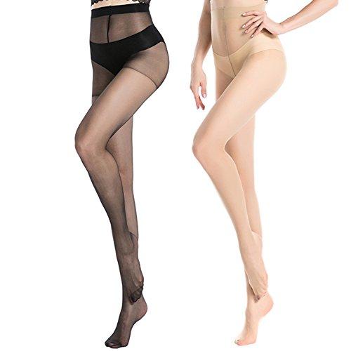 MANZI Women's Black (3 Pairs) Nude (3 Pairs) Sheer Soft Tight Size M
