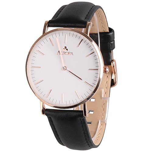 Aurora Women's Classic Steel Quartz Watch With Black Band (Rose Gold)