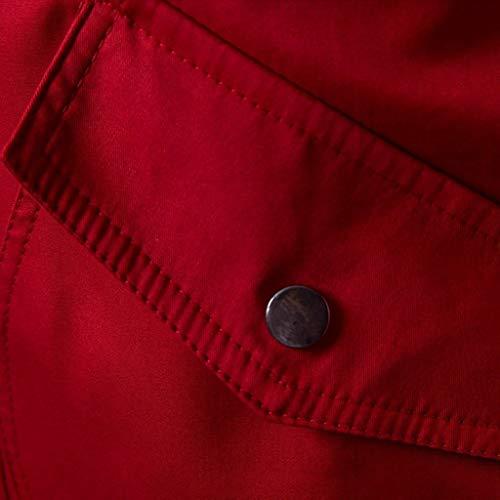 Primavera Top Rosso Giacche Giacca Uomo Jacket Cappotto Invernali Inverno Pocket Incappucciato Tinta Outwear Unita Coat Cloom Zipper Bottone 8Uqn4TSq